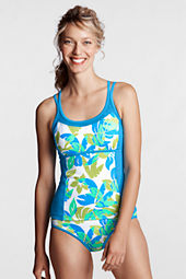 Women's Plus Size AquaTerra Floral Colorblock Scoop Tankini Top