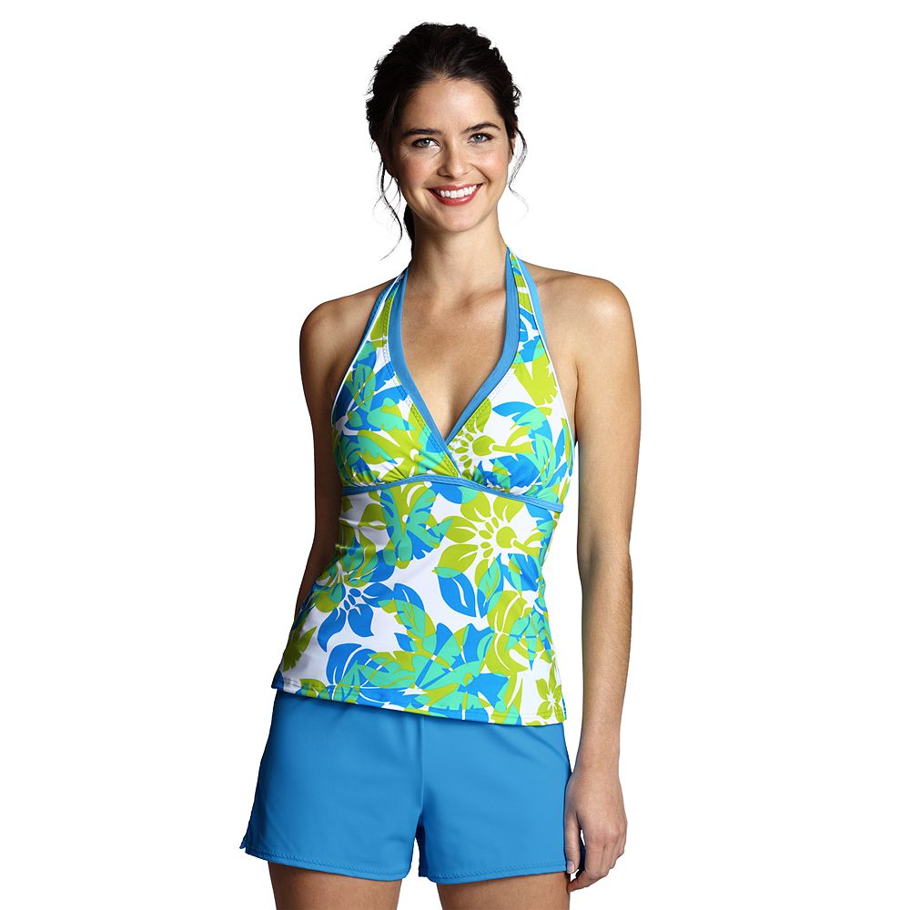 Lands' End Women's Regular AquaTerra Aqua Floral V-neck Tankini Top at Sears.com