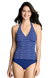 Women's Beach Living Batik Stripe V-neck Tankini Top