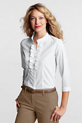 Women's 3/4-sleeve No Iron Stretch Ruffle Front Shirt