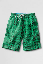 Boys' Pattern Long Swim Trunks