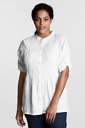 Women's Plus Size Roll Sleeve Pintuck Linen Tunic