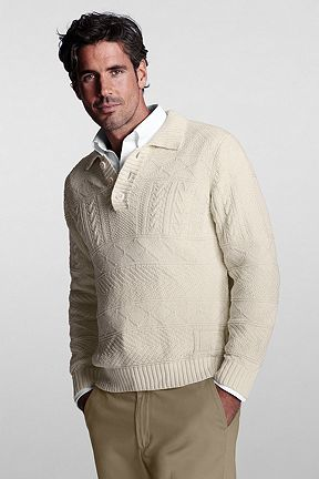 Linen Cotton Guernsey Polo Sweater 414446: Natural