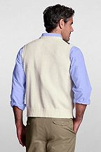 Linen Cotton Argyle Vest 414447: Natural