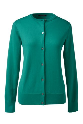 Women's Regular Plain Supima Fine Gauge Cardigan