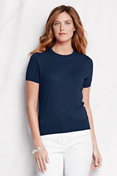 Women's Short Sleeve Solid Fine Gauge Supima Crew