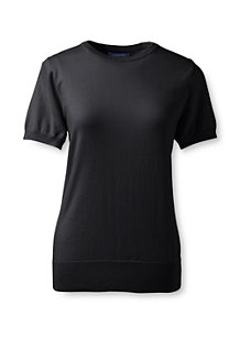 Women's Supima Fine Gauge Short Sleeve Plain Jumper