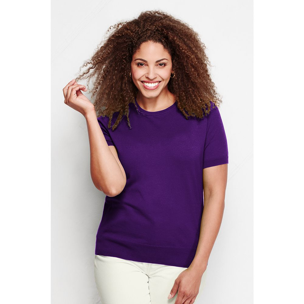 Lands' End Women's Plus Size Supima Short Sleeve Sweater at Sears.com