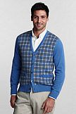 Lands' End Fine Gauge Supima Cotton Button-front Checked Cardigan 414463