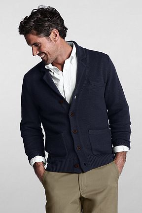 Italian Merino Notch Collar Cardigan 414615: True Navy