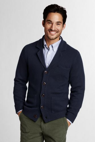 Offerta: Lands' End Men's Regular Merino Wool Notch Collar Cardigan