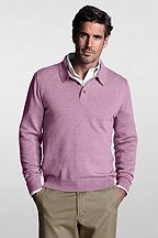 Italian Merino Polo Sweater 414616: Pink Heather