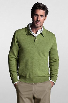 Italian Merino Polo Sweater 414616: Lime Green Heather