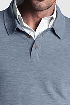 Italian Merino Polo Sweater 414616: Light Blue Heather