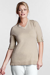 Women's Plus Size 3/4-sleeve Cotton Linen V-neck Tunic