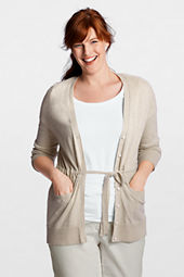 Women's Plus Size Long Sleeve Cotton Linen Tie V-neck Long Cardigan