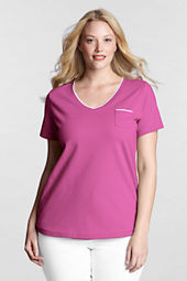 Women's Plus Size Short Sleeve Stretch Mesh V-neck Pocket Top