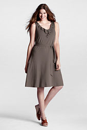 Women's Plus Size Sleeveless Cotton Modal Ruffle V-neck Dress