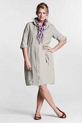 Women's Plus Size Long Sleeve Pintuck Shirtdress