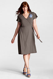 Women's Plus Size Flutter Sleeve Cotton Modal Surplice Dress