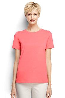Supima Kurzarm-T-Shirt mit rundem Ausschnitt für Damen