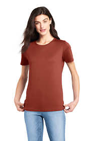 Women's Petite Relaxed Short Sleeve Supima Cotton Crew Neck T Shirt