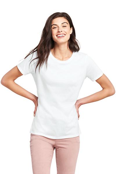 Lands' End - Supima Kurzarm-Shirt mit rundem Ausschnitt in größe - 1