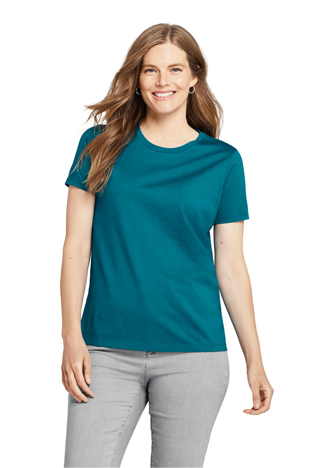 0d6348a6098e Women's Relaxed Supima Cotton Short Sleeve Crewneck T-Shirt from Lands' End