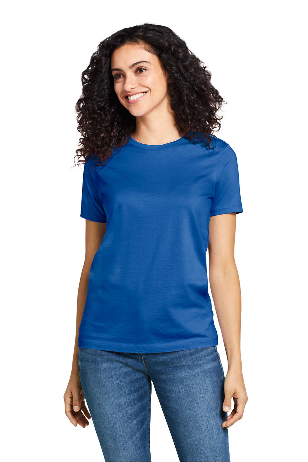 5915432d Women's Supima Cotton Short Sleeve T-shirt - Relaxed Crewneck from Lands'  End