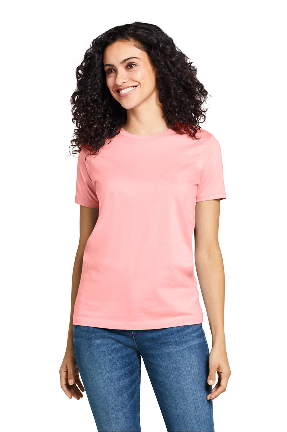 2a2e7439b1afd8 Women s Supima Cotton Short Sleeve T-shirt - Relaxed Crewneck from Lands   End
