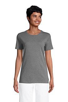 Supima Kurzarm-Shirt mit rundem Ausschnitt für Damen