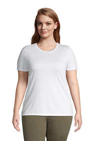 Women's Plus Size Petite Relaxed Supima Cotton Sort Sleeve Crewneck T-Shirt