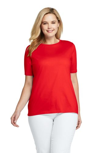 35d54e2e6516 Women's Plus Size Relaxed Fit Supima Cotton Crewneck Short Sleeve T-shirt  from Lands' End