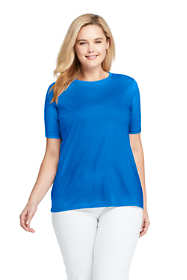 Women's Petite Plus Size Supima Cotton Short Sleeve T-shirt - Relaxed Crewneck