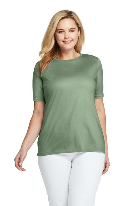 Women's Plus Size Supima Cotton Short Sleeve T-shirt - Relaxed Crewneck