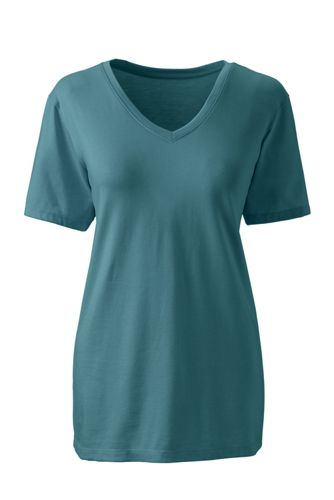 Supima Kurzarm-T-Shirt mit V-Ausschnitt für Damen