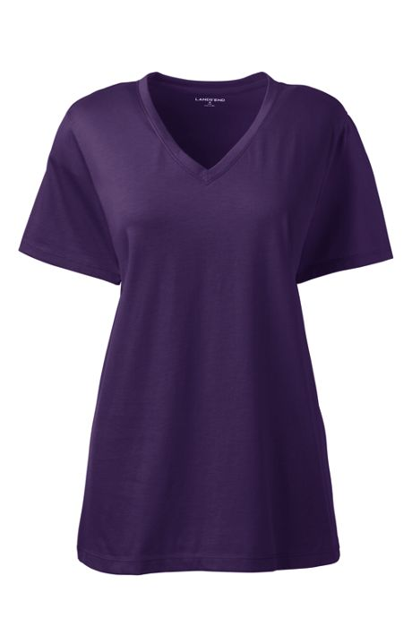 Women's Tall Supima Cotton Short Sleeve T-shirt - Relaxed V-neck