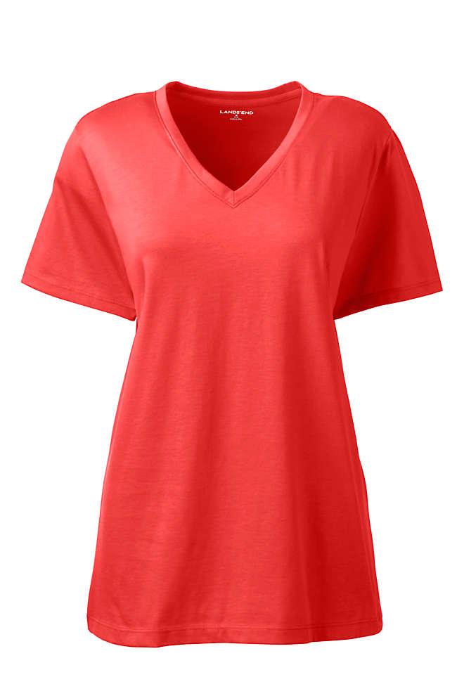 Women's Petite Relaxed Supima Cotton Short Sleeve V-Neck T-Shirt, Front