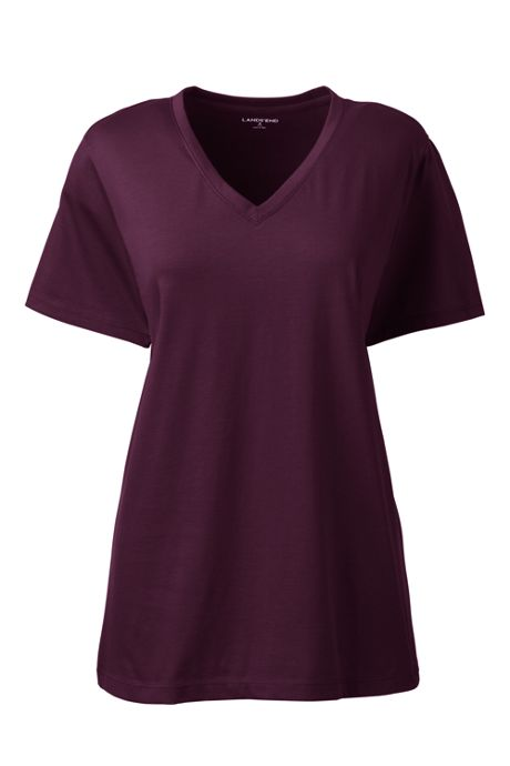 Women's Tall Relaxed Fit Supima Cotton V-neck Short Sleeve T-shirt
