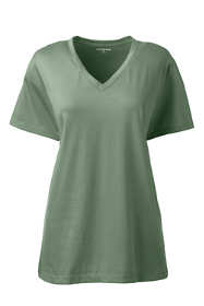 Women's Plus Size Relaxed Fit Supima Cotton V-neck Short Sleeve T-shirt
