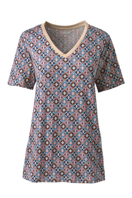 Women's Petite Relaxed Supima Cotton Short Sleeve V-Neck T-Shirt