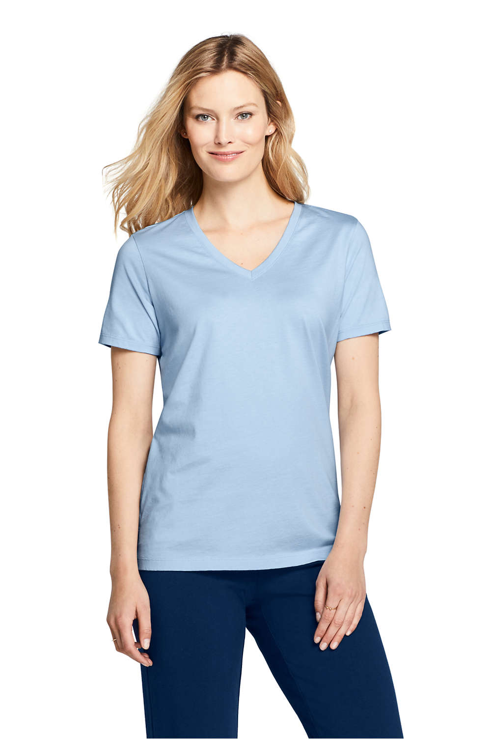 6e925c0404a2 Women's Relaxed Supima Cotton Short Sleeve V-Neck T-Shirt from Lands' End