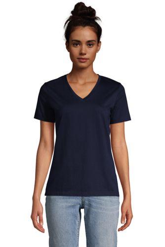 Supima Kurzarm-Shirt mit V-Ausschnitt für Damen