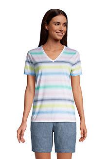 Le T-Shirt Coton Supima Col en V Manches Courtes, Femme