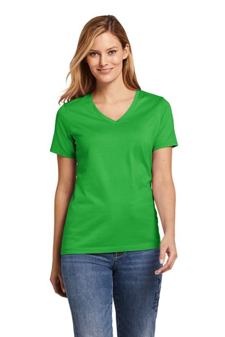 Women's Petite Supima Cotton Short Sleeve T-shirt - Relaxed V-neck