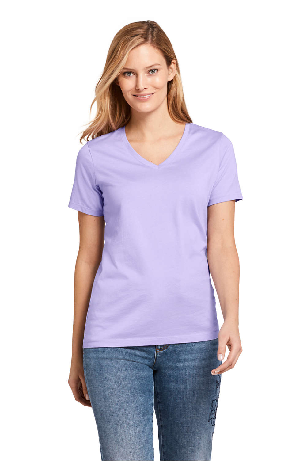 Women s Supima Cotton Short Sleeve T-shirt - Relaxed V-neck from ... 89a58cad7