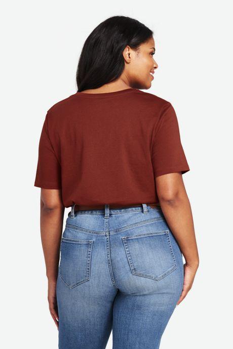 Women's Plus Size Relaxed Short Sleeve T-shirt Supima Cotton V-neck