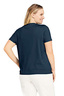 Women's Plus Size Petite Relaxed Supima Cotton Short Sleeve V-Neck T-Shirt, Back