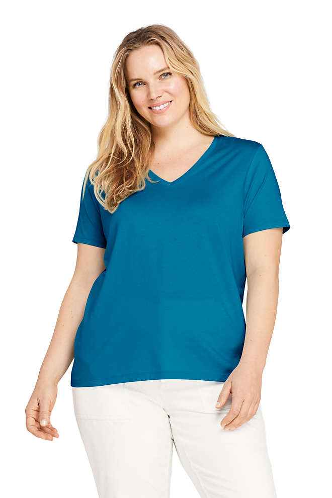 Women's Plus Size Relaxed Supima Cotton Short Sleeve V-Neck T-Shirt, Front