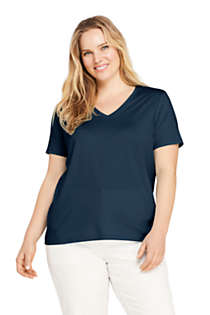 Women's Plus Size Petite Relaxed Supima Cotton Short Sleeve V-Neck T-Shirt, Front